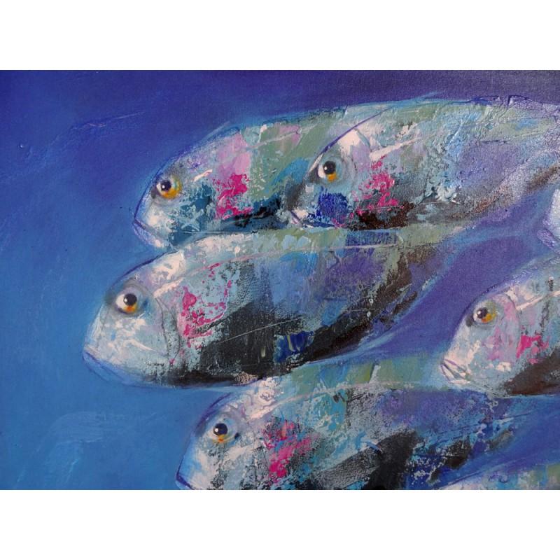 Poissons fond bleu mer grand tableau contemporain - Grand poisson de mer ...