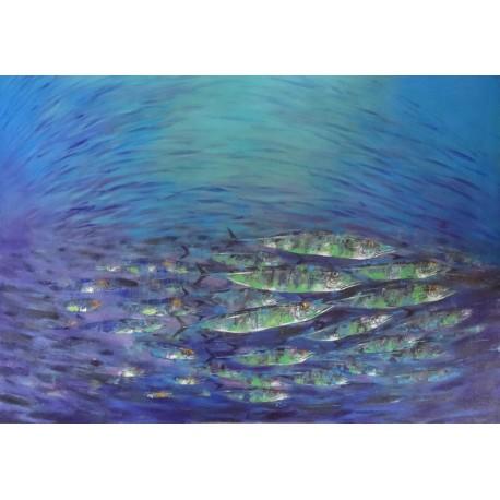Banc de barracudas- Tableau contemporain format panoramique- 200x140 cm