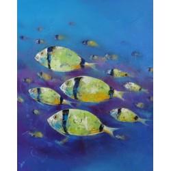 Banc de poissons tropicaux sur fond bleu- Tableau contemporain- 100x80 cm