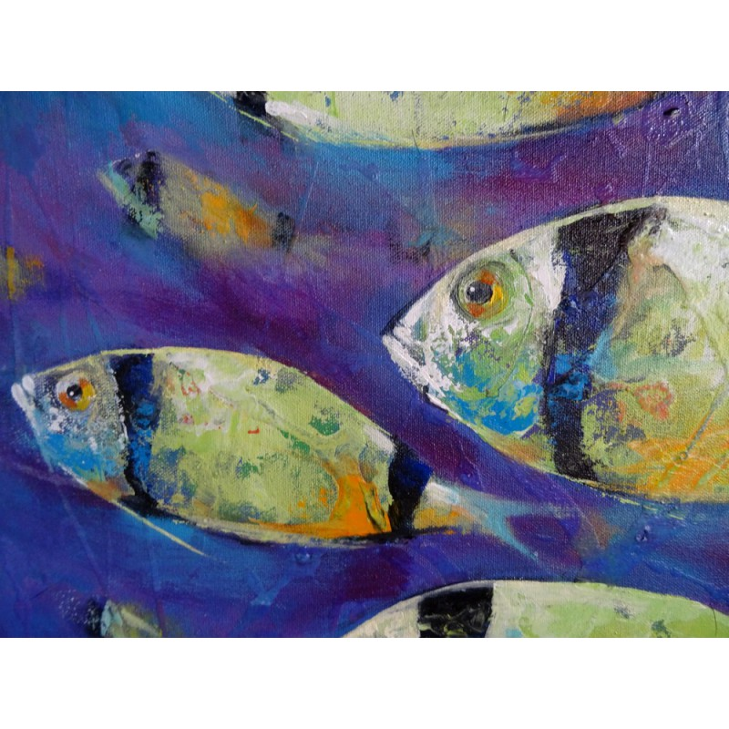 Banc de poissons tropicaux peinture mer contemporaine for Tableau contemporain grand format
