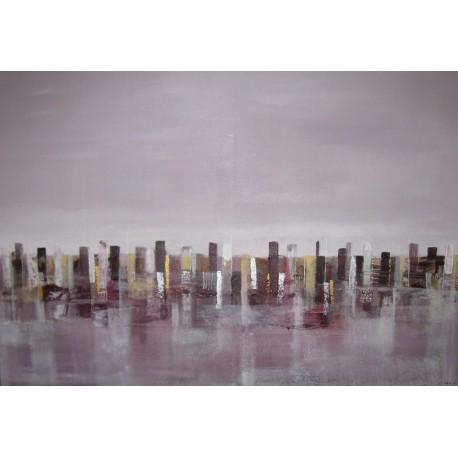 Purple city- Tableau ville déco contemporain 125x85- Suarsa