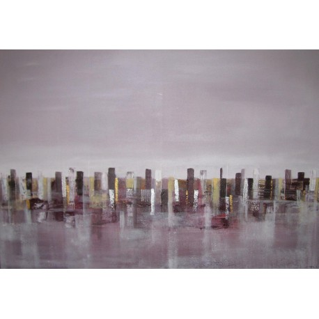 Purple city- Tableau ville déco contemporain 125x85- Suarsa