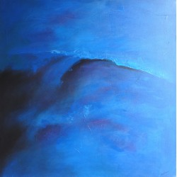 Tableau abstrait bleu mer- 120x120 cm