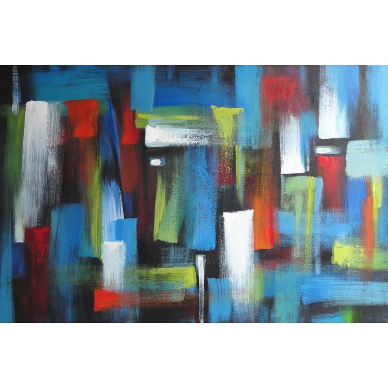 Tableau deco murale couleur bleue abstrait moderne 120x80 cm - Tableau de decoration murale ...