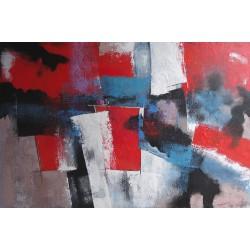 TABLEAU ABSTRAIT 5 COULEURS - 120x80 cm