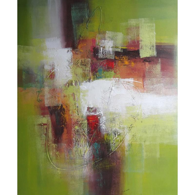 Tableau abstrait vert et blanc 120x100 cm for Photo de tableau abstrait