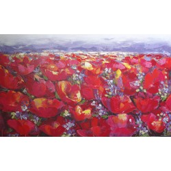 Fleurs et montagnes-Tableau déco -140x85- Budi
