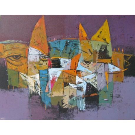 Tableau masques colorés-fond violet- 90x70 cm