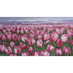 TABLEAU CONTEMPORAIN COLORE TULIPES ROSES- 150x80 cm