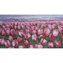 TABLEAU CONTEMPORAIN COLORE TULIPES ROSES- 150x80 cm