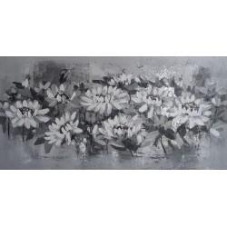 TABLEAU DECO HORIZONTAL FLEURS-GRIS ARGENT-120x60 cm
