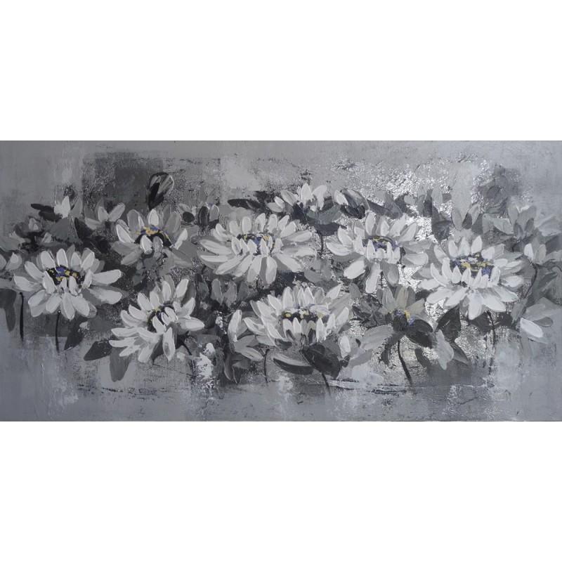Tableau Deco Horizontal Fleurs Gris Argent 120x60 Cm