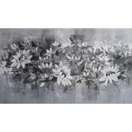 PEINTURE DECO MURALE FLEURS-GRIS ARGENT- 140x80 cm