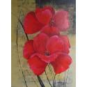 Tableau fleurs rouges sur fond or -80x60 cm