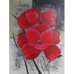 Tableau fleurs rouges sur fond argent -80x60 cm