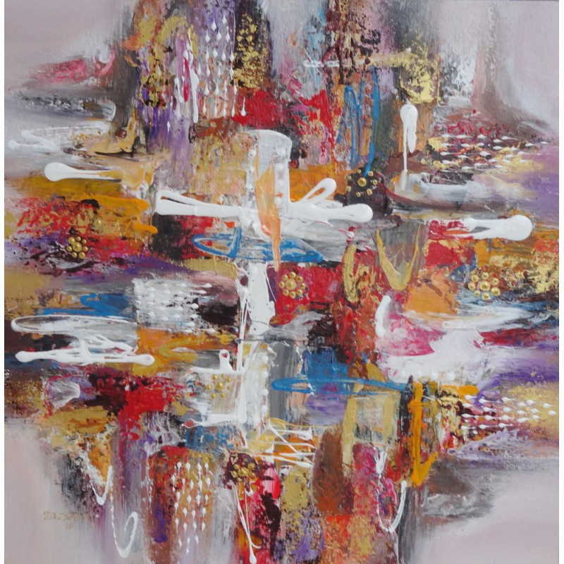 Tableau contemporain abstrait 70x70 cm darsana - Tableaux tryptiques contemporains ...