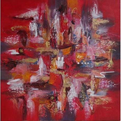 Tableau abstrait rouge carré 100x100cm fait main - Darsana