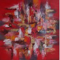 TABLEAU ABSTRAIT ROUGE - 100x100 - Darsana