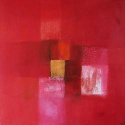 Tableau abstrait contemporain rouge vif 80x80-Suarsa