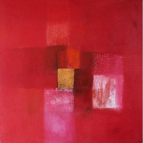 Tableau abstrait contemporain rouge-  80x80-Suarsa