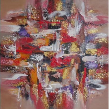 Tableau abstrait ton marron- 100x100 cm - Darsana
