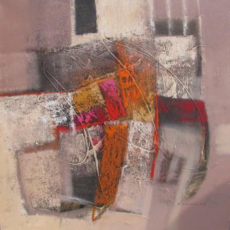 Tableau carré abstrait ton brun- 80x80 cm- Suwitra