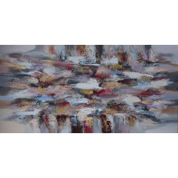 DARSANA- Tableau grand format ton gris- 200x100 cm