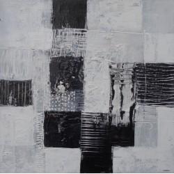 Tableau abstrait blanc-noir- 40x40 cm - Suarsa