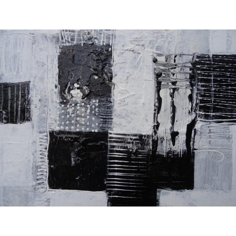 Tableau abstrait blanc noir 40x40 cm suarsa for Tableau photo noir et blanc