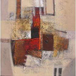 Tableau abstrait déco Brun Marron clair Beige - 80x80 cm