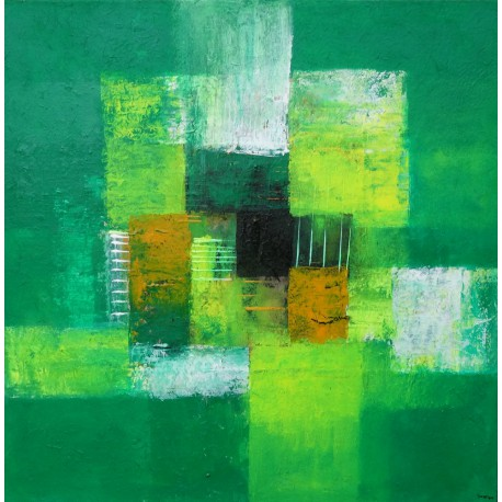 Tableau original abstrait vert emeraude fait main 60x60