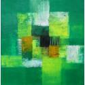 Tableau abstrait vert 60x60cm - Suarsa