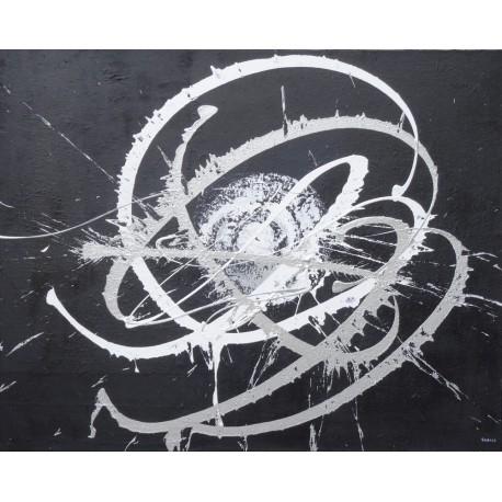 TABLEAU ABSTRAIT NOIR-ARGENT-100x80 - Suarsa