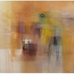 Tableau abstrait contemporain ton jaune-ocre- 100x100 cm