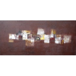 TABLEAU ABSTRAIT HORIZONTAL-MARRON-130x60 - Suarsa