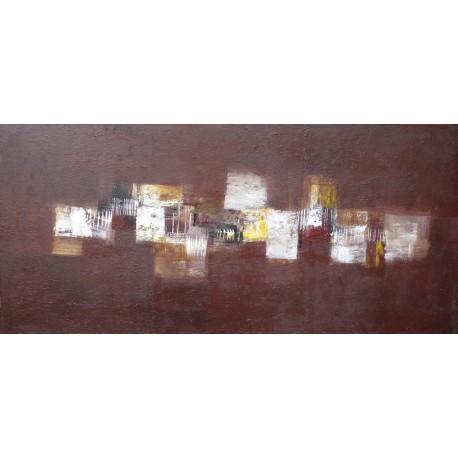 TABLEAU ABSTRAIT HORIZONTAL-MARRON-130x60 - Suarsa