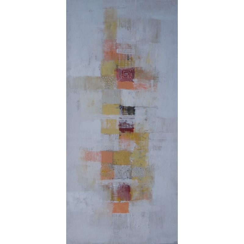 tableau abstrait contemporain vertical blanc jaune 130x60 cm suarsa. Black Bedroom Furniture Sets. Home Design Ideas