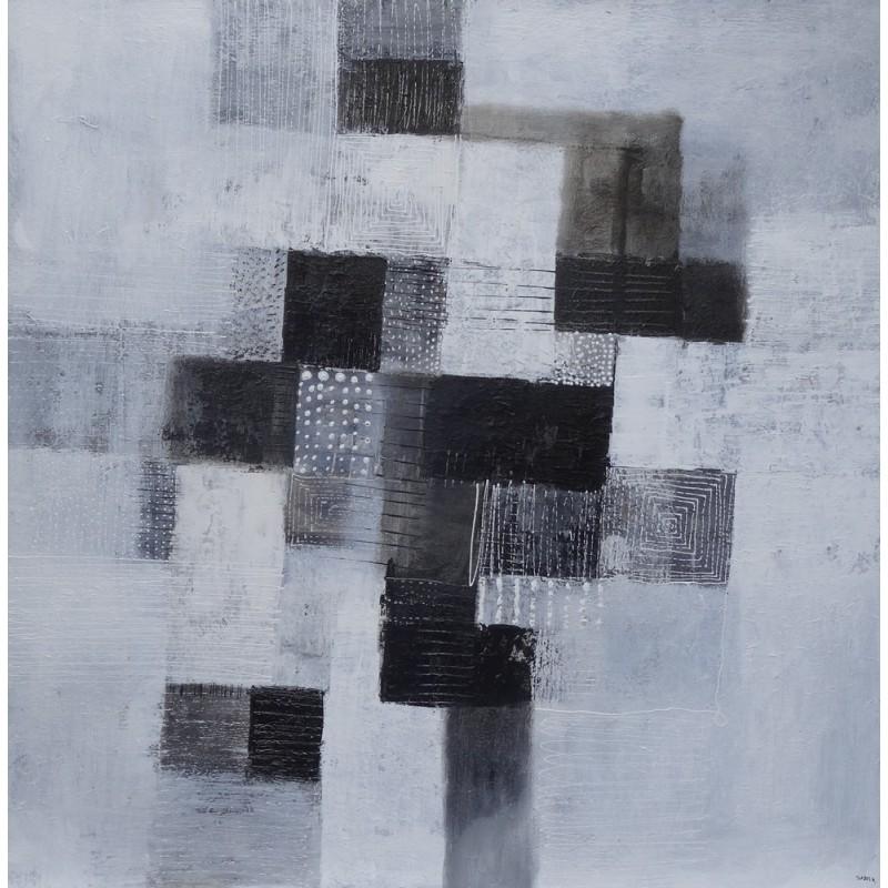 Tableau abstrait blanc noir 100x100 suarsa tableau unique for Grand tableau noir et blanc