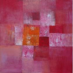 Tableau abstrait contemporain rose framboise-100x100 cm - Suarsa