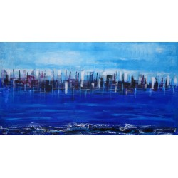 Tableau ville horizontal bleu- City on the sea- 150x80- Suarsa