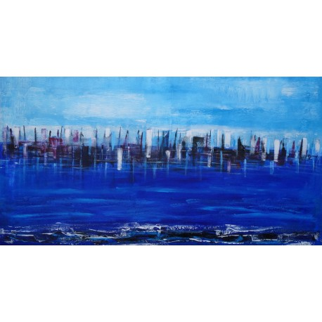 Tableau ville horizontal bleu- City on the sea- 150x80- Suarsa