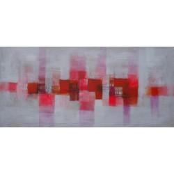Tableau abstrait horizontal blanc-rouge-150x70 cm- Suarsa