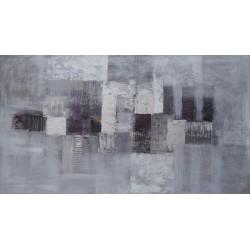 Tableau abstrait horizontal gris-argent-160x90 cm- Suarsa