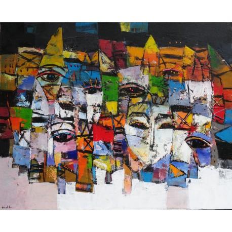 Tableau masques colorés-fond noir-blanc- 100x80 cm