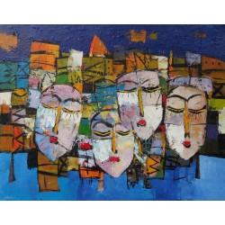 Tableau masques colorés-fond bleu- 90x70 cm