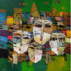 Tableau masques colorés-fond vert- 60x60 cm