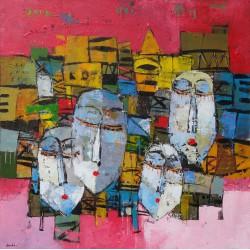 Tableau masques colorés-fond rose- 80x80 cm