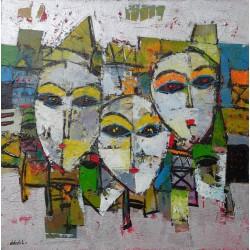 Tableau carré masques fond argent- 50x50 cm