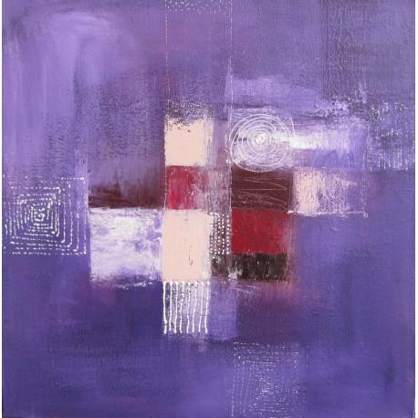 Tableau abstrait contemporain violet-  80x80-Suarsa