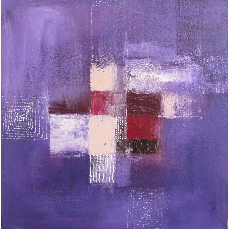 Tableau abstrait contemporain violet 80x80 suarsa for Photo de tableau abstrait